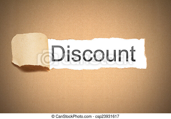 brown paper torn to reveal discount - csp23931617