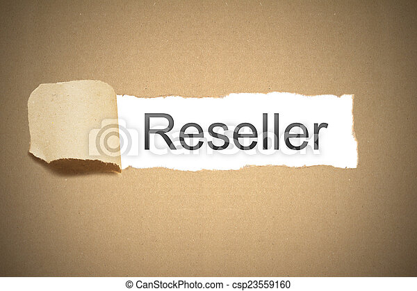 brown paper torn to reveal reseller - csp23559160