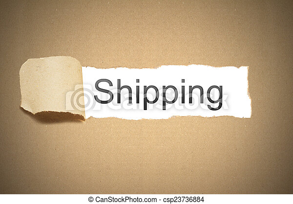brown paper torn to reveal shipping - csp23736884