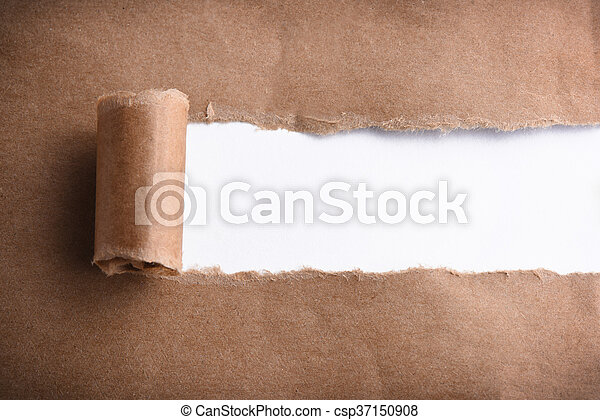 Brown paper torn to reveal white panel - csp37150908