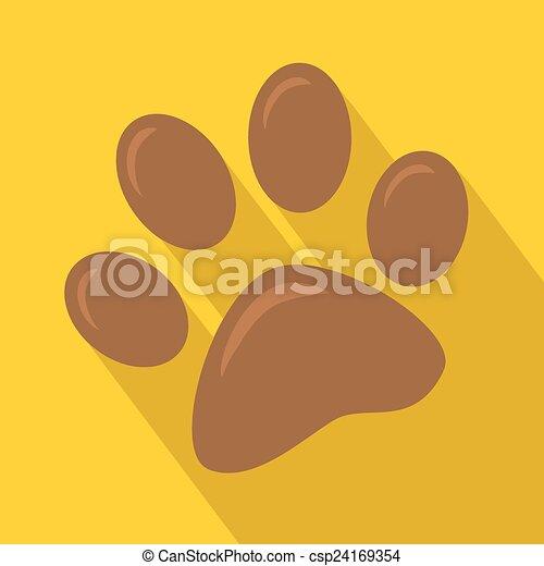 Brown Paw Print Icon - csp24169354