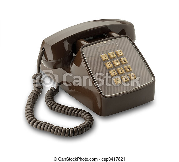 Brown phone, isolated - csp3417821