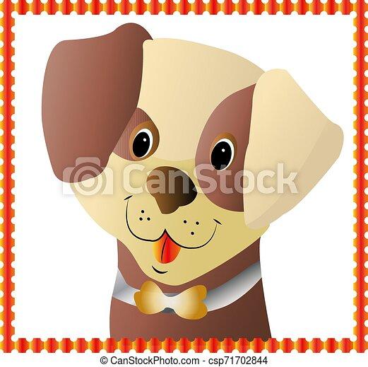 Brown puppy's head, in orange frame, cartoon design on white background - csp71702844