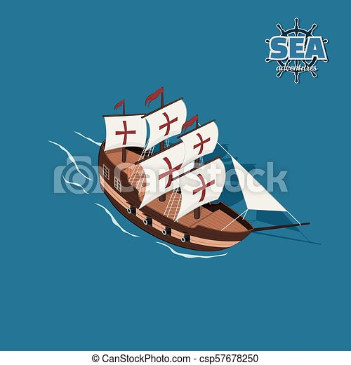 Brown sailer on a blue background. - csp57678250