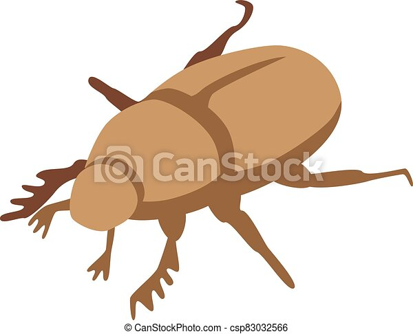 Brown scarab icon, isometric style - csp83032566