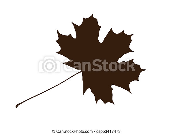 Brown Shape Of Maple Leaf On The White Background Brown Shape Of