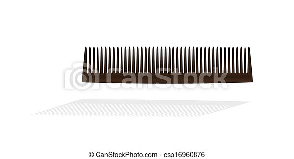 brown small comb with shadow on white background - csp16960876