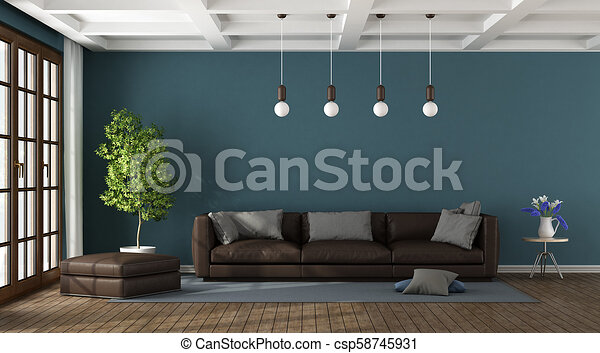 Brown Sofa In A Blue Living Room With Large Window And Coffered Ceiling 3d Rendering Canstock