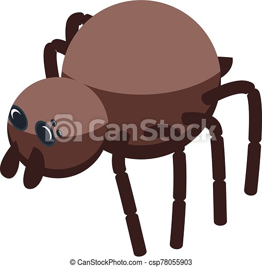 Brown spider icon, isometric style - csp78055903