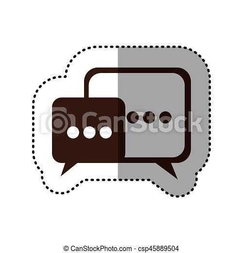 brown square chat bubbles icon - csp45889504