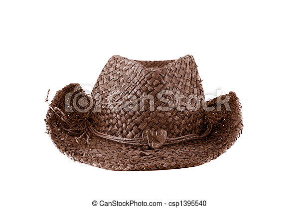 brown straw cowboy hat - csp1395540