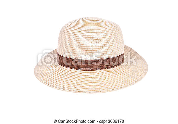 Brown straw hat with ribbon isolated on white background - csp13686170