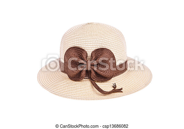 Brown straw hat with ribbon isolated on white background - csp13686082