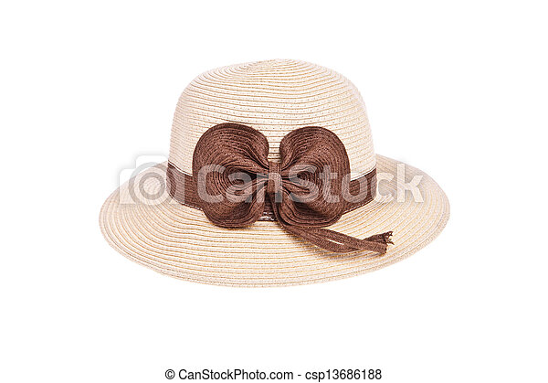 Brown straw hat with ribbon isolated on white background - csp13686188