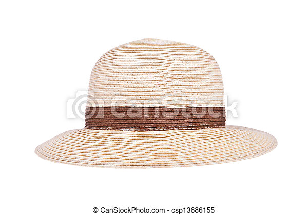 Brown straw hat with ribbon isolated on white background - csp13686155