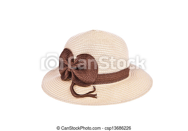 Brown straw hat with ribbon isolated on white background - csp13686226