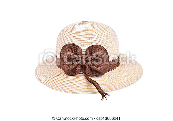 Brown straw hat with ribbon isolated on white background - csp13686241