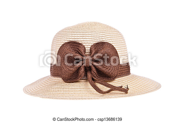 Brown straw hat with ribbon isolated on white background - csp13686139