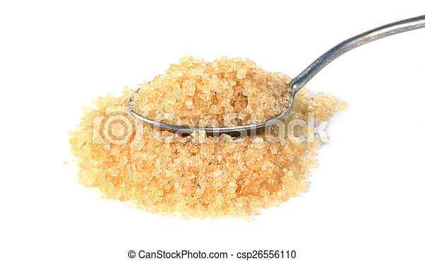 brown sugar in a spoon on white background - csp26556110