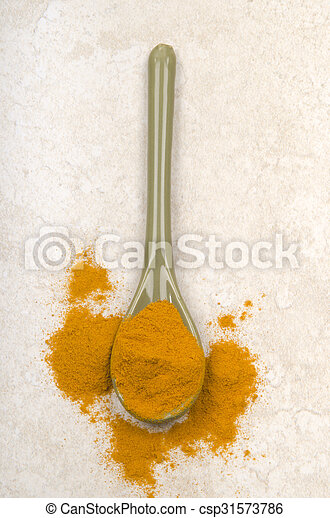 brown sugar on a porcelain spoon - csp31573786