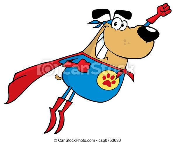 Brown Super Hero Dog Flying - csp8753630