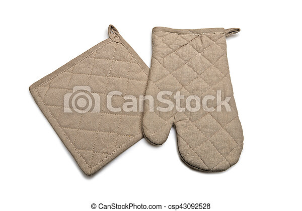 Brown Tablecloth and glove made of linen - csp43092528