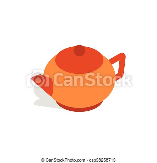 Brown teapot icon, isometric 3d style - csp38258713