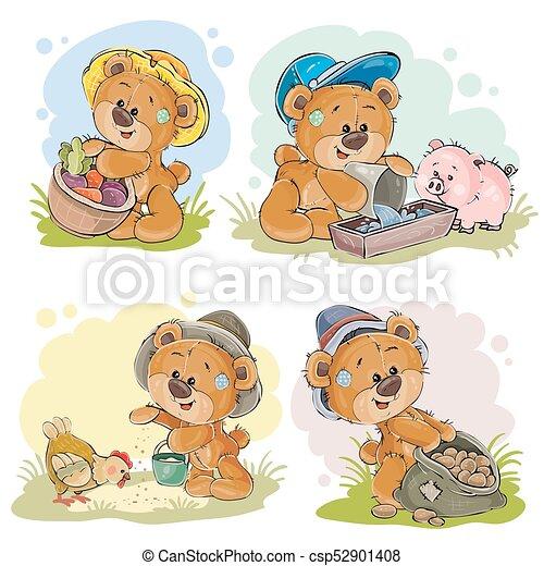 Brown teddy bear farmer - csp52901408