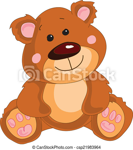 Brown teddy bear on a white background. - csp21983964