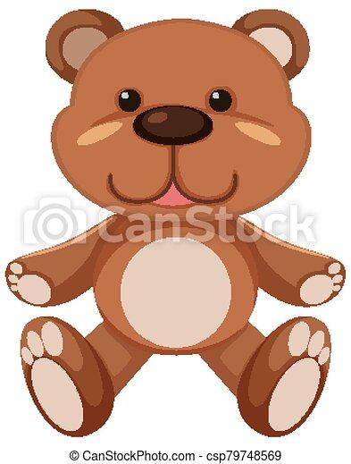 Brown teddy bear on white background - csp79748569