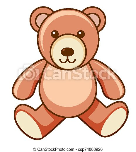 Brown teddy bear on white background - csp74888926