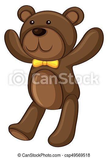 Brown teddy bear on white background - csp49569518