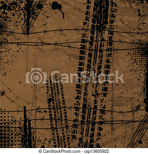 Brown tire track background - csp13605922