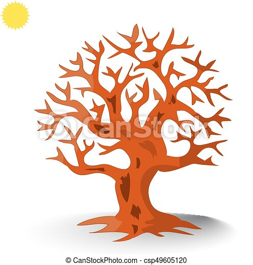 Brown tree without leaves silhouette, cartoon on white ...