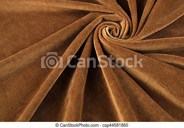 brown velvet close-up. Fabric macro for texture and background - csp44581860