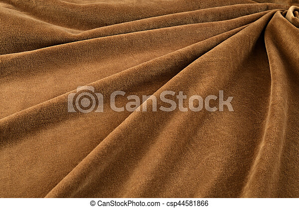 brown velvet close-up. Fabric macro for texture and background - csp44581866