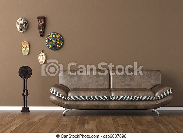 brown wall with tribal masks and couch - csp6007896