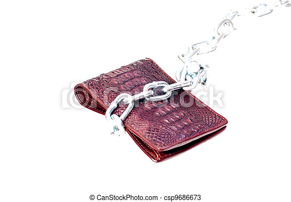 Brown wallet tie with a steel chain - csp9686673