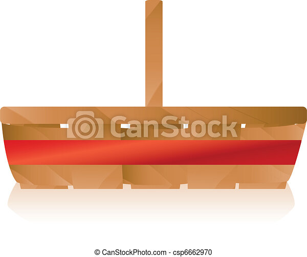 Brown Wicker Basket with Red Ribbon - csp6662970
