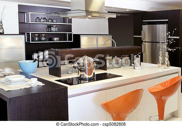Brown wood kitchen modern stainless steel - csp5082808