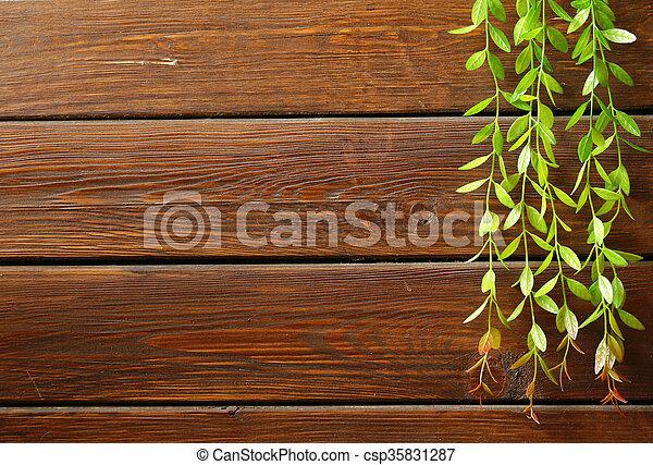 brown wooden background - csp35831287