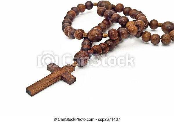 Brown Wooden beads isolated over white - csp2671487