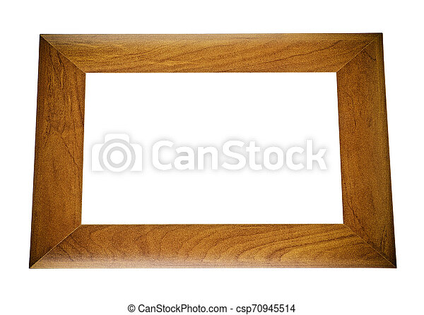 Brown wooden frame isolated on white background - csp70945514