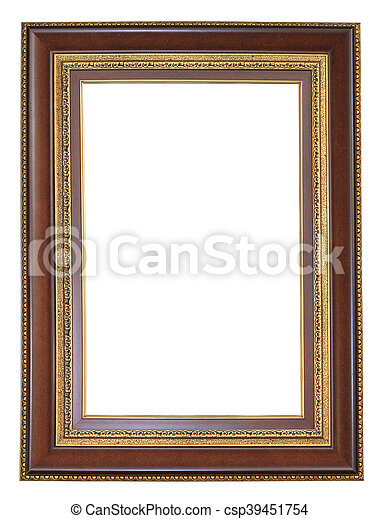 Brown wooden frame isolated on white background - csp39451754