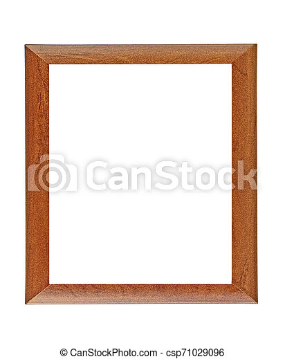 Brown wooden frame isolated on white background - csp71029096