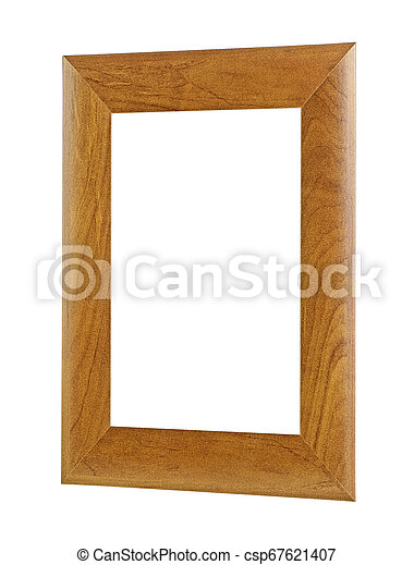Brown wooden frame isolated on white background - csp67621407
