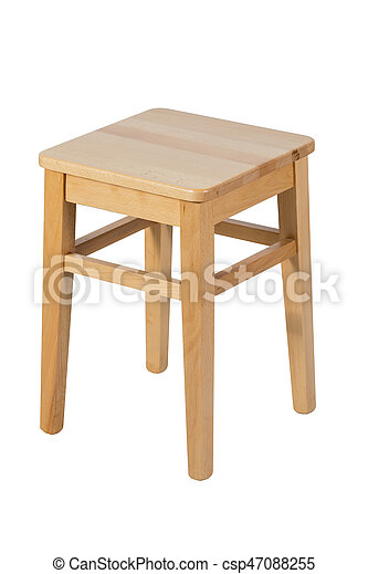 Brown wooden stool isolated on white background - csp47088255