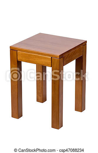 Brown wooden stool isolated on white background - csp47088234