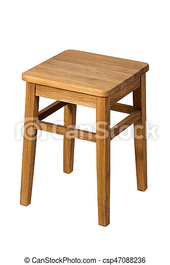 Brown wooden stool isolated on white background - csp47088236