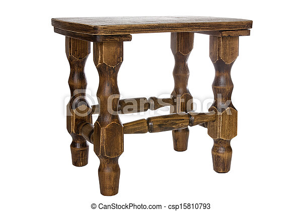 Brown wooden stool - csp15810793